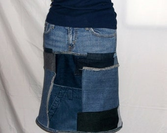 SOLD--''''Up-cycled Recycled,  ,Up-cycled Clothing, Patchwork Denim Skirt, Women Skirt, Handmade Skirt, Jean Skirt, Skirt, ECO, Hippie