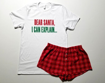 cher pre nol je peux expliquer pyjama ensemble vacances pyjama flanelle shorts femmes pyjama nol t shirt graphique ensemble pyjama boxer