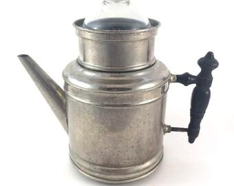 Antique Percolator - Meteor Percolator - Glass Top Percolator - Coffee Pot - Farmhouse Decor - Manning Bowman Percolator - Metal Percolator