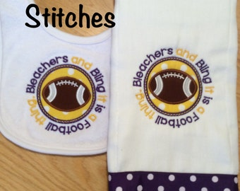 Appliqued Bleachers and Bling It is a Football Thing Burp Cloth and Bib Set
