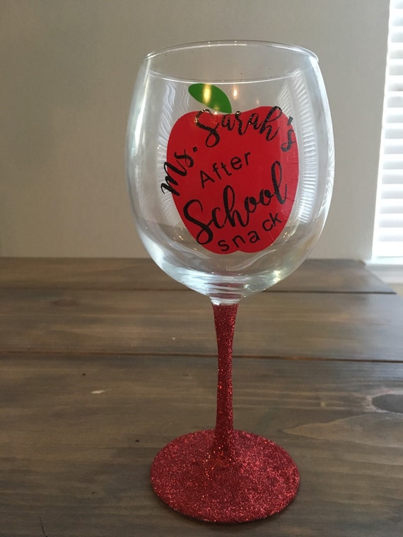 Teachers After School Snack Teacher Appreciation Wine Glass
