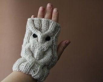 Fingerless owl gloves Animal mittens Children gloves Knit owl fingerless gloves  Arm warmers Kid mittens