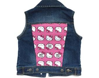 Girls' Hello Kitty Denim Vest (7/8) | custom denim | girls denim vest | jean vest | hello kitty