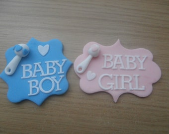 baby boy,  baby girl, Plaque, sugar paste, fondant, edible, cake topper, cake decoration, pink, blue