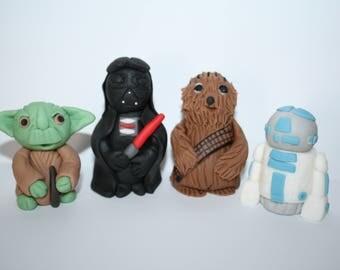Star Wars, characters, Birthday, cake topper,fondant, sugar paste, edible, boy, girl, Darth Vader, Yoda, R2 D2, Chewbacca, cake decoration