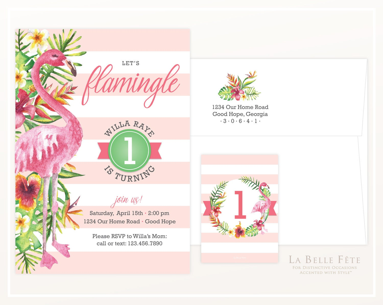Let S Flamingle Birthday Party Invitation With Watercolor
