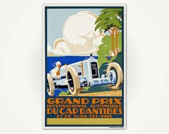 Grand Prix du Cap d'Antibes French Art Deco Racing Poster Print - Vintage Cote d'Azure Poster Art
