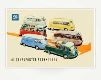 Volkswagen-Transporter Advertising Poster Print - Vintage Volkswagen / VW Bus Poster Art