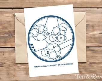 Doctor Who Birthday Card - Gallifreyan - Time Lord Card, Printable Card
