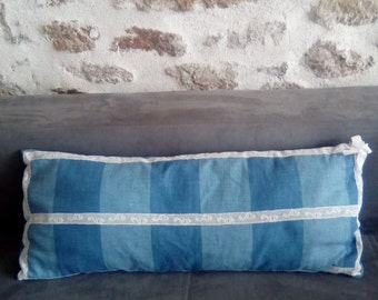 Small long pillow with vintage lace