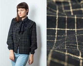 Vintage Wool Blend Ruffle Blouse