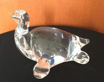 Vintage Clear Glass Turtle Figurine Paper Weight