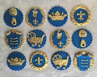 Prince Fondant Cupcake Toppers. Edible Baby Shower toppers. Royal theme Baby Shower cupcake toppers . Royal Blue & gold Baby Shower Toppers.