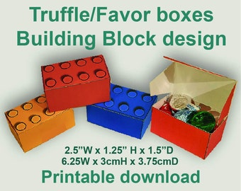 Truffle/Treat Box. Building block design.Red,Green,Blue,Yellow. Birthday Party. Printable download. Lego, Duplo
