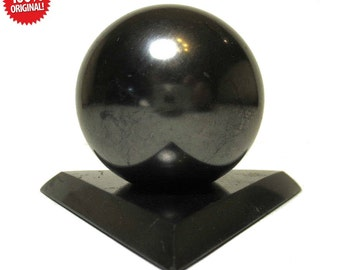 Shungite Polished Sphere Stone 40mm With Stand elite crystals mineral