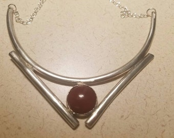 Sterling silver and red carnelian statement necklace