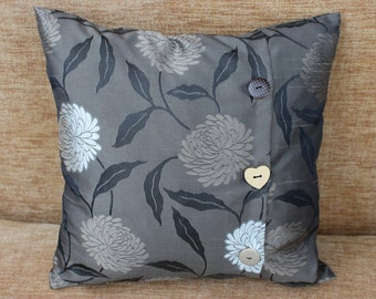 """Cushion/Pillow Cover, 16"""" x 16"""" Square with Button Opening in Brown Floral Patricia Fabric"""