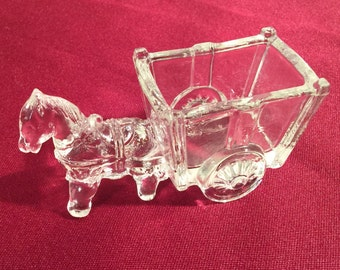 Pressed glass Toothpick holder / donkey pulling cart / horse pulling cart / trinket holder