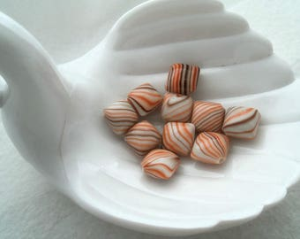 10 Vintage German Acrylic, 12 mm x 12 mm x 8 mm Puffed Squares, Orange and Brown Swirl (1453)
