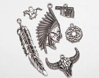 6 Mixed Shape Native American Element Pendant/Charms  (B100c)