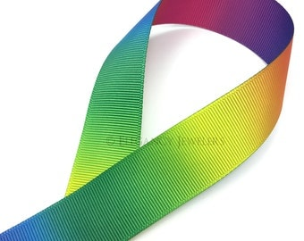 """1"""" Colorful Rainbow Double Sided Printed Grosgrain Ribbon, Cheer, (R124)"""