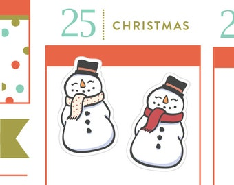 P303 - Snowman stickers, Christmas planner stickers, snow day stickers, 21 stickers