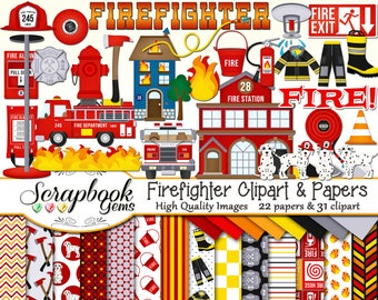 FIREFIGHTER Clipart & Papers Kit, 30 png Clip arts, 22 jpeg Papers Instant Download flame fire station dalmation hydrant hose pole hat truck