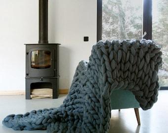 Chunky Knit blanket, Chunky wool blanket, Knitted blanket, Super chunky knit blanket, Knit Throw Blanket, extreme chunky yarn blanket,