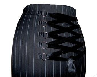 black pinstripe steampunk skirt, gothic fishtail full length skirt, burlesque corset skirt, victorian skirt, long gothic skirt,  size 14 16