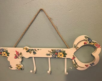 Shabby Chic Key Rack Decoupaged using Cath or Emma designs ideal Mothers Day Gift