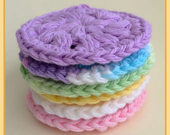 Round Cotton Crochet Face Scrubbies Set Makeup Remover