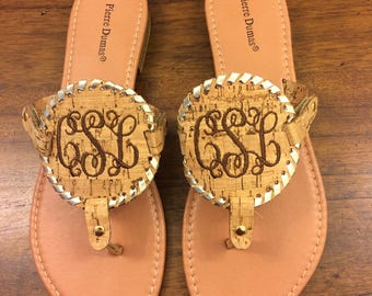 Cork  Sandals,  Natural Colored Personalized Sandals, , Monogram, Summer Style, Summer Fashion, Womens Shoes