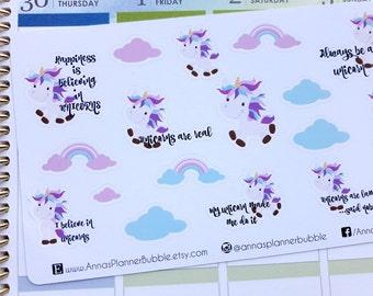 Unicorn planner stickers, cute stickers for Erin Condren, Happy Planner, Filofax, Kikki K etc.