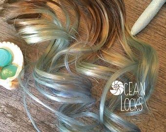 "Ombre Hair, IN STOCK, 20"" Long, Hair Extensions Clip In, Blonde Hair, Mint Hair, Blue Hair, Mermaid Hair, Highlights, Ocean Locks"