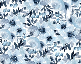 Blue Anemone & Peony Floral Pattern Print