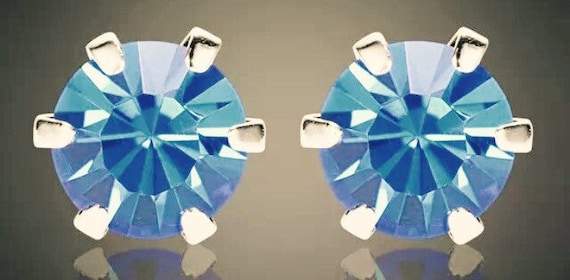 Aquamarine Crystal Stud Earrings   Large size