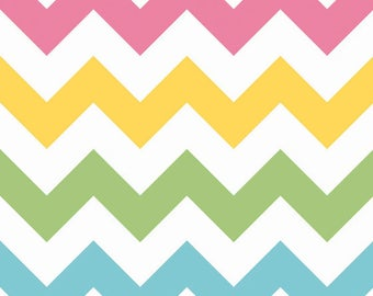 ON SALE - Chevron Fabric - For Her - Riley Blake Fabric - Girl Chevron Large - Fabric by the yard - Cotton - Pastel Rainbow - mint - pink