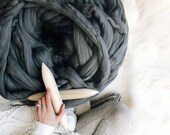 Big Yarn, Silver Color, Giant Super Bulky Chunky Yarn, Big Stitch Merino Wool, 1-2 week turnaround