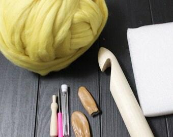 Big Yarn, Yellow and Orange Shades, Giant Super Bulky Chunky Yarn, Big Stitch Merino Wool, 1-2 week turnaround