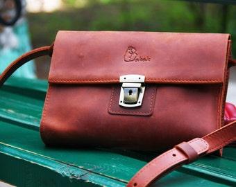 Crossbody purse, leather shoulder bag, small leather bag, gift for her, leather handbag, cross body bag, cross body purse, light brown bag