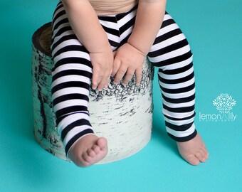 Black and white striped leggings   Etsy
