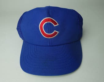 90s Chicago Cubs Vintage MLB Snapback Hat - 80s 90s Vintage MLB Baseball Chicago Cubs Mesh Hat Made in USA