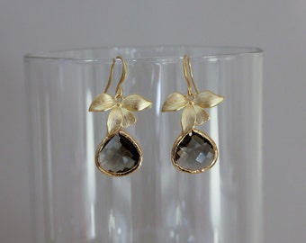 Lan earrings golden/grey