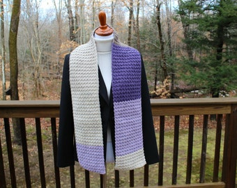 Multicolor Crochet Scarf,  Wool Blend Scarf, Winter Fashion Scarf, Women's Scarf