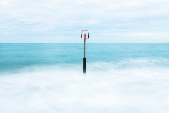 MARKER BUOUY. Seascape Print, Tranquil Sea, Poole Bay, Ocean print, Dorset Coast, Photographic Print