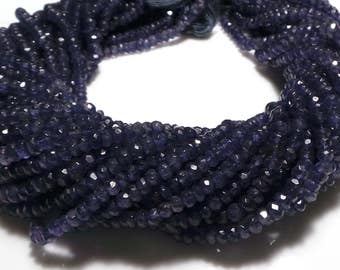 """Natural Blue Iolite Faceted Rondelle Shape Beads 12"""" Single Strand IMB8"""