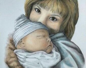 CUSTOM DRAWING, Custom Portrait, Baby Portrait, Family Portrait, Pencil Drawing , Unique Gift, Pastel and Pencil, Portraits