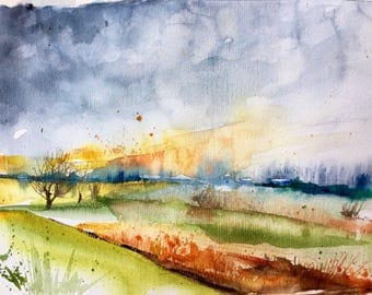 """Original Watercolour - Free delivery """"winter sunset in my campaign"""" (trees fields cold meadow landscape Impressionist painting)"""
