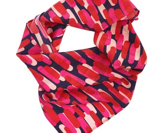 Silk scarf / Gift for her / 100% silk crepe de chine / Coral, pink, red strokes on navy