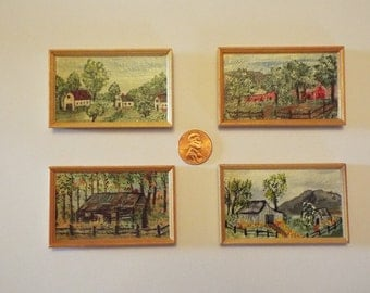 Original Miniature Farm Paintings